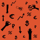 Money symbols. Background about the money and the exchange rate. Business Illustration stock illustration