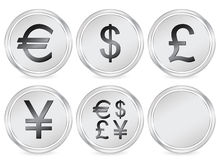 Money symbols circle icon. Metal money circle icon set. Vector illustration Stock Image