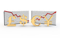 Money symbols and diagrams Stock Photography