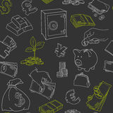 Money symbols doodle sketch vector seamless. Pattern. Hand drawn illustration Royalty Free Stock Photo