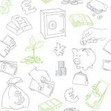 Money symbols doodle sketch vector seamless Royalty Free Stock Photos