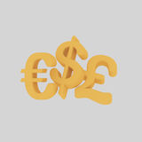 Money Symbols. Easy combine! 4000 x 4000 / 300 dpi / Isolate. Custom 3d illustration Royalty Free Stock Image