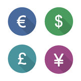 Money symbols flat design icons set Royalty Free Stock Images