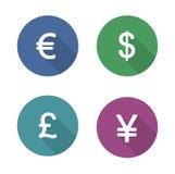 Money symbols flat design icons set Royalty Free Stock Images