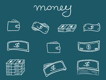 Money symbols. Money icons - sketchy doodle style illustration with banknotes and wallets. Business set Stock Illustration