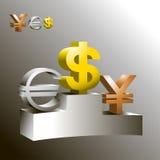 Money. Symbols of money on the podium. Vector Stock Photos