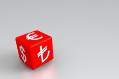 Money symbols on the red dice. Currency exchange on the red dice royalty free illustration