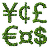 Money symbols: yen, cent, pound, euro, dollar, currency, made from green leaves isolated on white background. 3d render. Stock Photography
