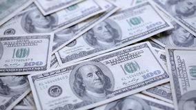 Money on the table. Camera flying over the money lying on the table stock footage