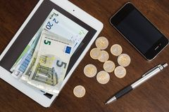 Money at the table. Finances. Euro money on the table Stock Photography