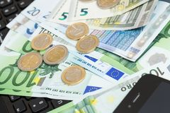 Money at the table. Finances. Euro money on the table Stock Photo