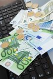 Money at the table. Finances. Euro money on the table Stock Photos