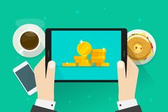 Money on tablet vector illustration, flat cartoon cash or golden coins on screen, idea of big financial profit, rich. Businessman, internet money Royalty Free Stock Images