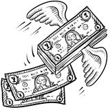 Money takes off sketch Royalty Free Stock Image