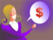 Money talk. Business executive talking about money - female version Stock Photo