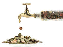 Money tap. Money coins fall out of the golden tap Royalty Free Stock Photos