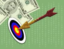 Money Target. Computer generated image concept. Hitting the target with a golden arrow. Managing money, budgeting, striking it rich, etc Royalty Free Stock Images