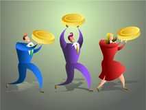 Money team. Team of business people carrying golden coins - concept illustration Royalty Free Stock Photos