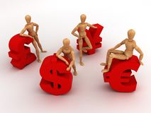 Money Team (With clipping path). (computer generated images stock illustration