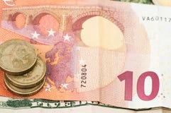 Money ten Euro Dollar Bill Coins Stock Image