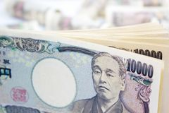 Money Ten Thousand Yen Banknote. On White Background, Business And Finance Concepts Stock Images