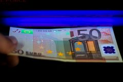 Money Testing Fake Check. Money Testing - Detector Euro European Currency Fake Check stock images