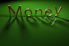 Money text. Golden text money on green background Royalty Free Stock Image