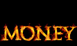 Money Text in Flames Royalty Free Stock Photo