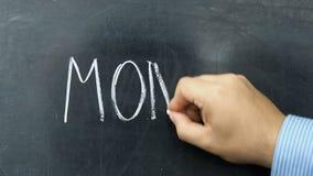 Money text handwritten blackboard chalkboard stock video footage
