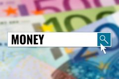 Money, text in search box over euro banknotes. Background Stock Images