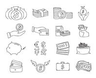 Money thin line icon vector set hand drawn line art illustration.  Stock Images