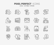Free Money Thin Line Icons 3 Royalty Free Stock Images - 185639899