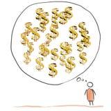 Money thinking man comics. Royalty Free Stock Images