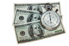 Money and time. On white stock photo