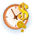 Money is time. Icon / logo of money with clock on the background Royalty Free Stock Image
