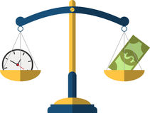 Money and Time balance on the scale. Business Concept. Design Royalty Free Stock Photos