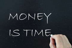 Money is time. Money buys time life balance concept handwritten on a chalkboard stock photography