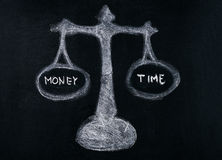 Money and time. Concept on balance scale drawn on blackboard, chalk board stock images