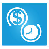 Money and time management. Money and time allocation symbol in blue button Royalty Free Stock Photography