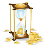 Money time sand clock Stock Photography