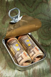 Money in a tin can. A tin can with delicious money on a wooden table Royalty Free Stock Image