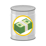 Money in a Tin. Canned cash. Dollars for hereafter. Vector illus Royalty Free Stock Image