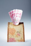 Money in tissue box Stock Photos