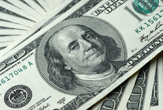 Money to American dollars. Money to 100 American dollars stock photo
