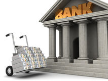 Money to bank. 3d illustration of truck full of money and bank building Stock Image