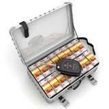 Money to buy a car. Car key is lying on open suitcase filled with packs of Russian rubles. . 3D Illustration Royalty Free Stock Images