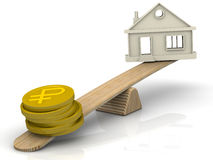 Money to buy a house. Concept. Money (coins with the symbol of the russian ruble) and the symbol of the house weighed in the balance. Financial concept Stock Photography