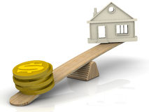 Money to buy a house. Concept. Money (coins with the symbol of the US dollar) and the symbol of the house weighed in the balance. Financial concept Stock Photo