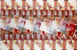 Money to the State of Israel. Beautifully laid out banknotes in denominations of 200 new shekels, the money the State of Israel Royalty Free Stock Image