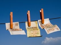 Money to the wind. Money drying to the wind Stock Photos